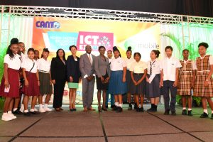 Students with key speakers and Hon. Maxi Cuffie (center)